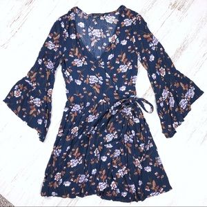 AE Floral Wrap Dress S Flutter Sleeves Navy Blue